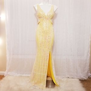 Faviana Glamour Sequin Yellow Gown